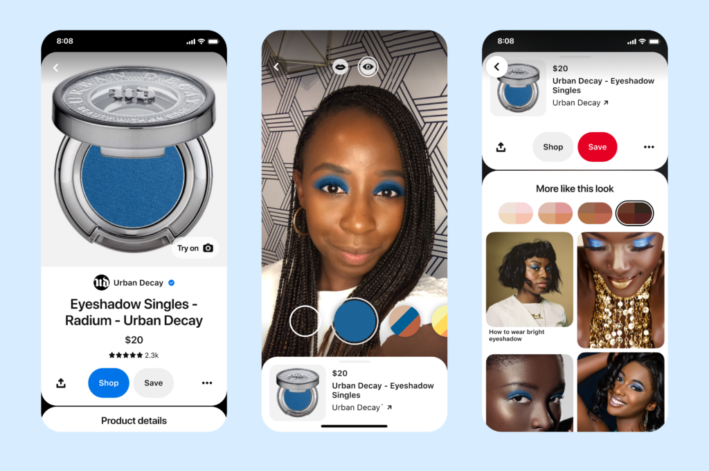 Screenshots of the Pinterest app featuring eyeshadow product view, a woman in a selfie view with the eye-shadow virtually applied, and similar product lists.
