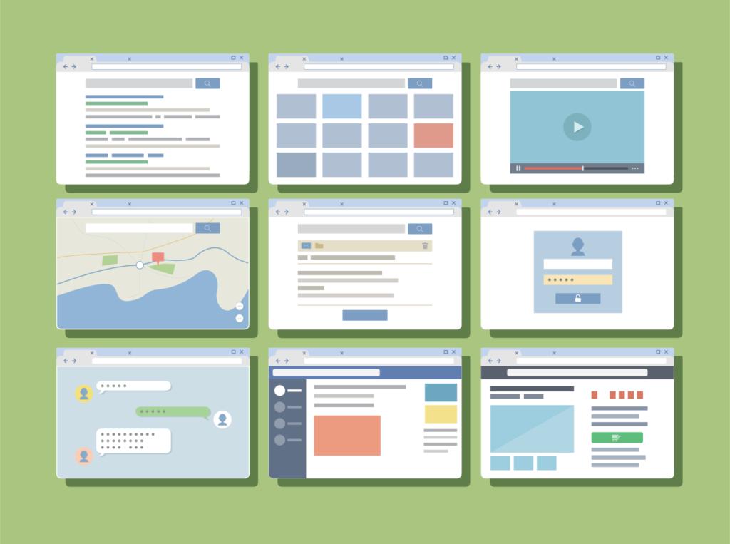 Mock ups of websites running in browsers